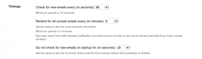 Gmail™ Notifier オプション画面1
