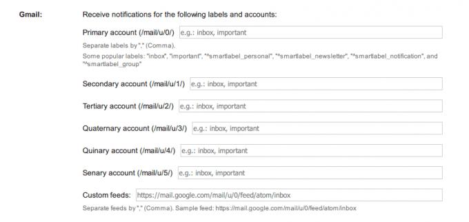 Gmail™ Notifier オプション画面2