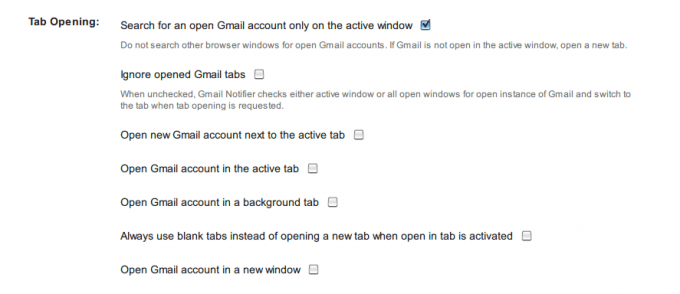Gmail™ Notifier オプション画面4